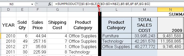 Advanced Excel, Sumproduct