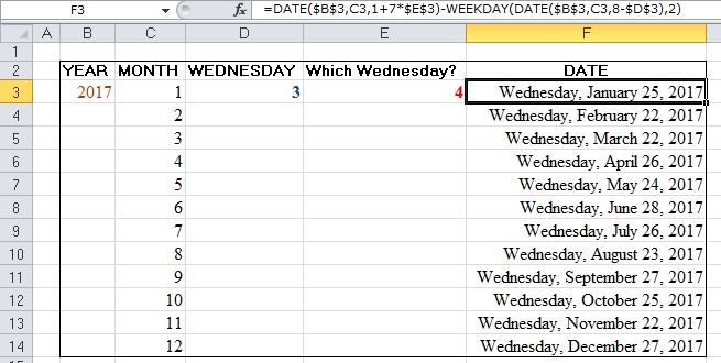 WEEKDAY FUNCTION EXCEL