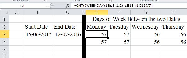 EXCEL WEEKDAY FUNCTION