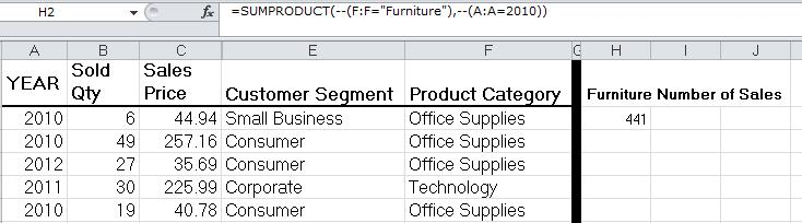 Advanced Excel,Sumproduct