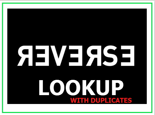 REVERSE LOOKUP WITH DUPLICATES IN EXCEL