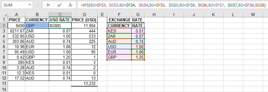 IFS function in Excel
