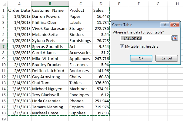 Excel Table Image 1